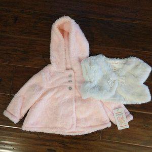 Carter's Baby Girl Furry Jacket & Vest 6M NEW